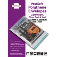 Image for Postsafe Light-Weight Polythene Envelope 235x310mm C4 Clear Pack of 100 P09-100