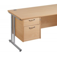 Image for 2 Drawer Fixed Pedestal - Silver Handle