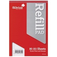 Image for Silvine Refill Pad A5 Punched 2-Hole Head Bound 80 Leaf Ruled Feint and Margin A5RPFM-T