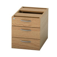 Image for Satellite Fixed Pedestal 3 Drawer Light Oak