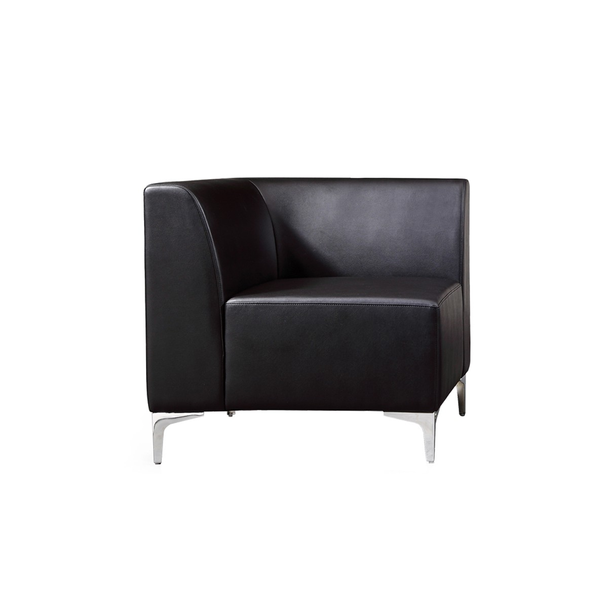 Modular Corner Sofa Section Black Faux Leather