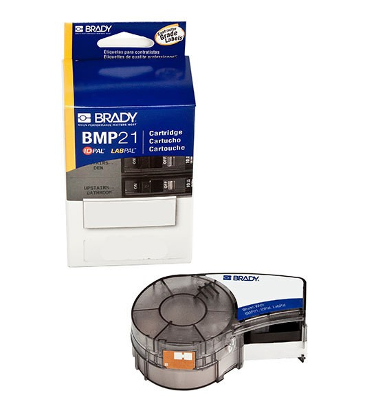 Brady IDPal LabPal BMP21 Black on White Vinyl Label Tape M21-750-595-WT
