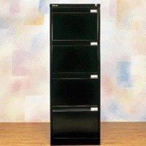 Bisley 4 Drawer Filing Cabinet Lockable Black Flush Fronted BS4E