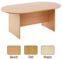 Arista 1800mm D-End Rectangular Meeting Table Beech  - W:1800 D:1000mm H:730mm