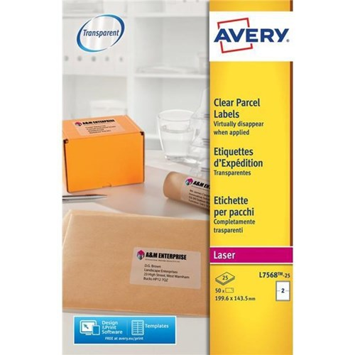 Avery Parcel Labels Clear Gloss Laser 199.6x143.5mm Ref L7568-25 [Pack 50]