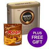 Nescafe Gold Blend Instant Coffee Tin 750g Ref 12339209 [Pack 2] [4x FREE Rolo Chocolate Bag] Apr-Jun 19