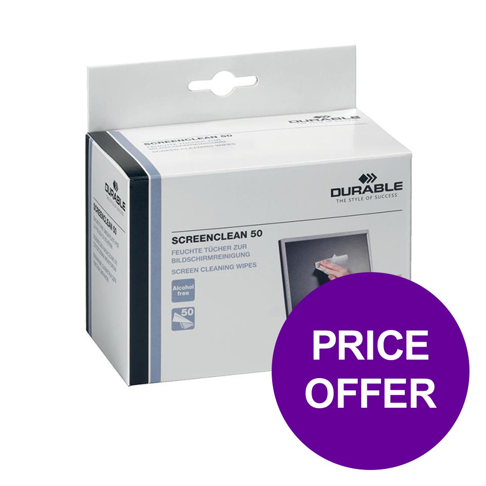 Durable Screenclean Wipes Pre-saturated Ref 5787 [Pack 50 Wipes] [2 For 1] Apr-Jun 2019 June Deal 2019