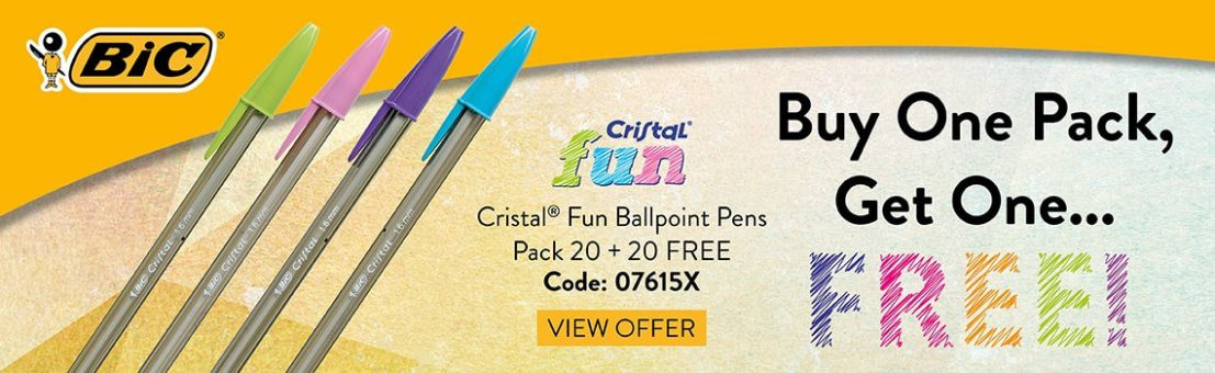 Bic Cristal Fun Ball Pen Assorted Pk 20 - BUY ONE BACK, GET ONE FREE