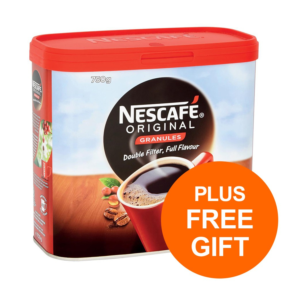 Nescafe Original Instant Coffee Granules Tin 750g Ref 12315566 [Pack 2] [Plus 3x Randoms] Jul-Sept 19 BPAUG19