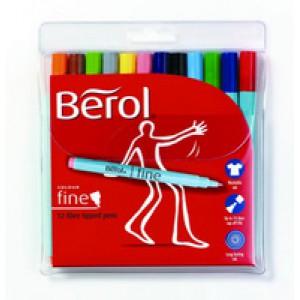 Berol Colourfine Pen Assorted Water Based Ink Wallet of 24 CFW S0376530