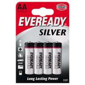 Eveready Battery Silver AA Pack of 4 R6B4UP
