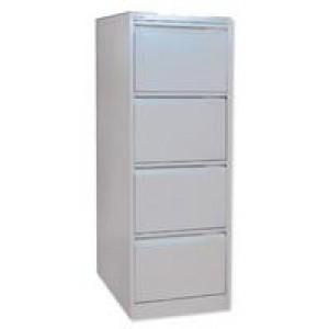 Bisley 4 Drawer Filing Cabinet Lockable Goose Grey Flush Fronted BS4E