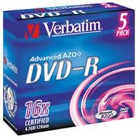 Image for Verbatim DVD-R 4.7Gb 16X Jewel Case Pack of 5 43519